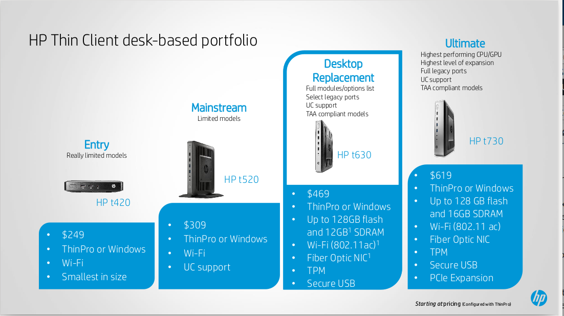 2016 HP VMworld t630 sales presentation on HP thin client